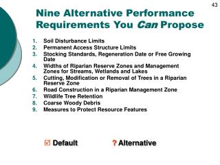 Nine Alternative Performance Requirements You  Can  Propose