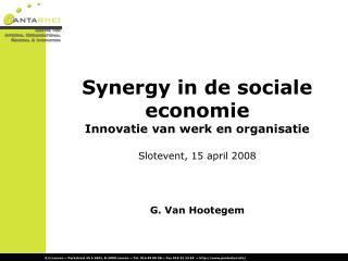 Synergy in de sociale economie Innovatie van werk en organisatie