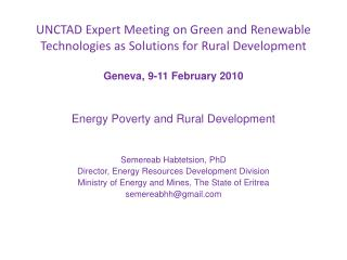 UNCTAD Expert Meeting on Green and Renewable Technologies as Solutions for Rural Development
