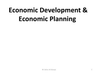 Economic Development & Economic Planning