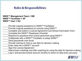 Roles & Responsibilities SWIS™ Management Team = SM SWIS™ Facilitator = SF SWIS™ User = SU