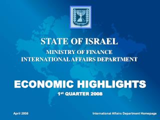 ECONOMIC HIGHLIGHTS 1 st  QUARTER 2008