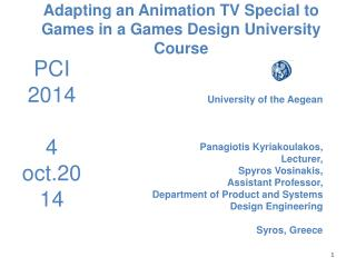 Adapting an Animation TV Special to Games in a Games Design University Course