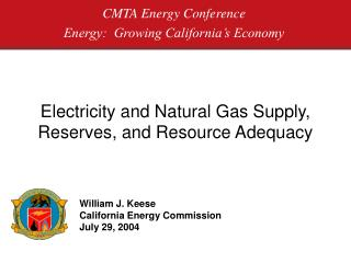 Electricity and Natural Gas Supply, Reserves, and Resource Adequacy