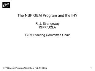 The NSF GEM Program and the IHY