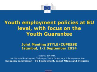 Katarina LINDAHL Unit Sectorial Employment Challenges, Youth Employment & Entrepreneurship