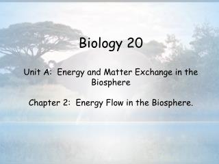 Biology 20  Unit A:  Energy and Matter Exchange in the Biosphere