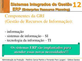 Os sistemas ERP são implantados para  atender essas novas necessidades!!!