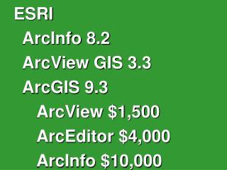 ESRI ArcInfo 8.2 ArcView GIS 3.3 ArcGIS 9.3 ArcView $1,500 ArcEditor $4,000