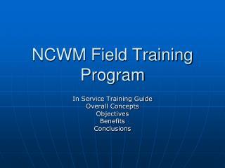 NCWM Field Training Program