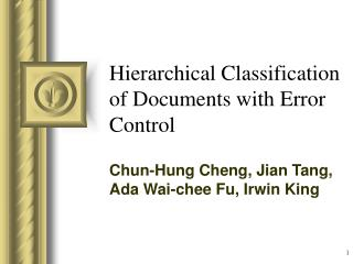 Hierarchical Classification of Documents with Error Control