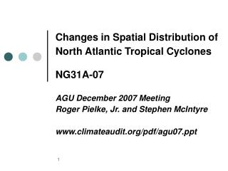 Changes in Spatial Distribution of North Atlantic Tropical Cyclones NG31A-07