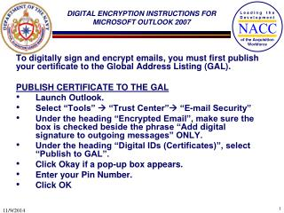 DIGITAL ENCRYPTION INSTRUCTIONS FOR MICROSOFT OUTLOOK 2007