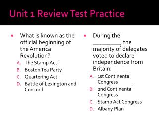 Unit 1 Review Test Practice