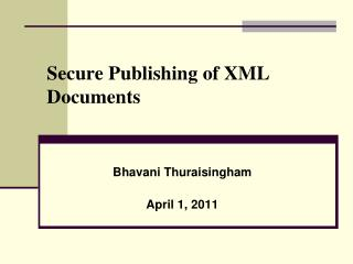 Secure Publishing of XML Documents