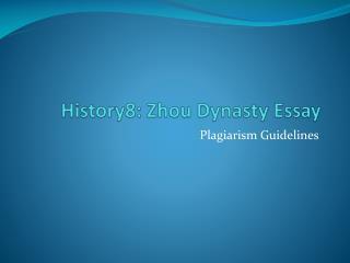 History8: Zhou Dynasty Essay