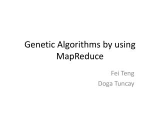 Genetic Algorithms by using  MapReduce