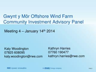 Gwynt y Môr Offshore Wind Farm Community Investment Advisory Panel
