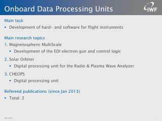 Onboard Data Processing Units