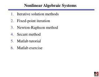 Nonlinear Algebraic Systems
