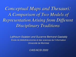 Lalthoum Saàdani and Suzanne Bertrand-Gastaldy