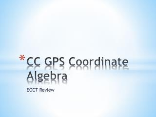 C C GPS Coordinate Algebra