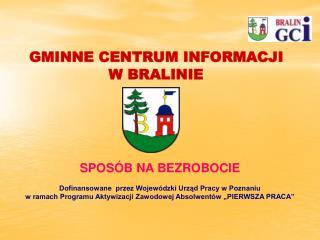 SPOSÓB NA BEZROBOCIE Dofinansowane  przez Wojewódzki Urząd Pracy w Poznaniu