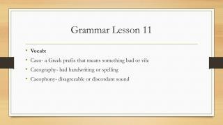 Grammar Lesson 11