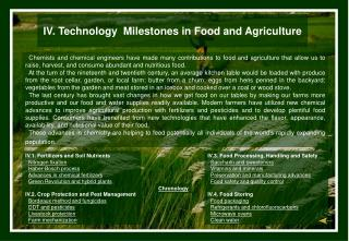 IV. Food and Agriculture