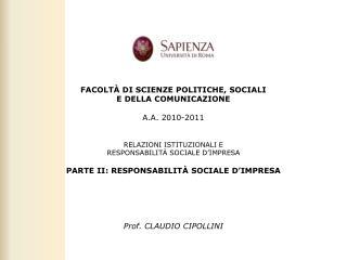 PARTE II: RESPONSABILITÀ SOCIALE D'IMPRESA RIEPILOGANDO: SINTESI DEI PRINCIPALI CONCETTI