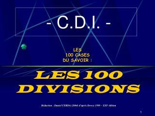 LES  100 CASES  DU SAVOIR : LES 100 DIVISIONS
