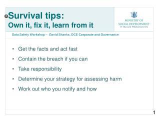 Survival tips: Own it, fix it, learn from it