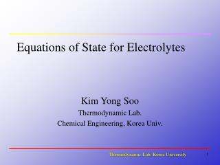 Equations of State for Electrolytes