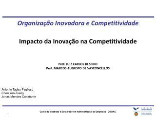 Organização Inovadora e Competitividade Impacto da Inovação na Competitividade