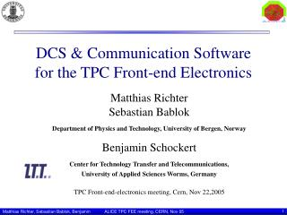 DCS & Communication Software for the TPC Front-end Electronics