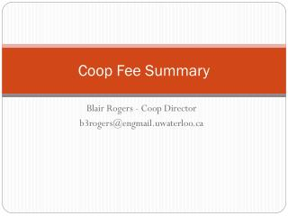 Coop Fee Summary
