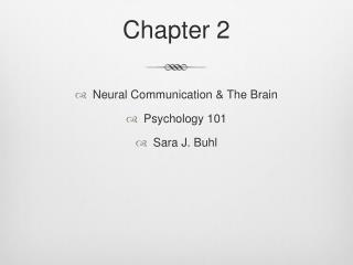 Neural Communication  The Brain Psychology 101 Sara J. Buhl
