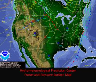 Hydrometeorological  Prediction Center Fronts and Pressure Surface Map