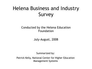 Helena Business and Industry Survey
