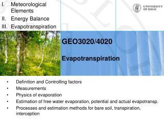 GEO3020/4020 Evapotranspiration