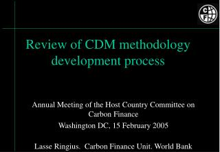 Review of CDM methodology development process