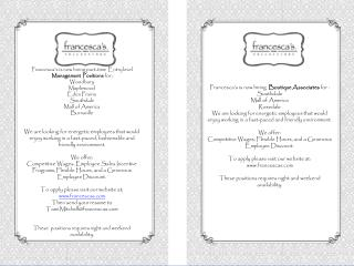 Francesca's is now  hiring part-time  Entry level Management  Positions  for  : Woodbury Maplewood