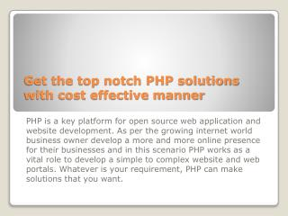 Get The Top Notch PHP Solutions With Cost Effective Manner