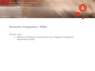 Economic Integration: MNEs