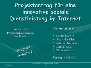 Projektantrag f�r eine innovative soziale Dienstleistung im Internet