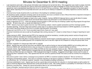 Minutes for December 9, 2010 meeting
