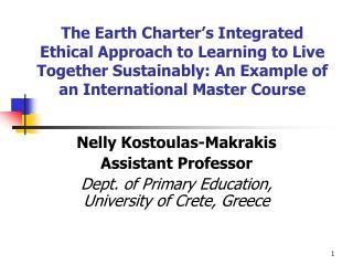 Nelly Kostoulas-Makrakis Assistant Professor
