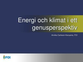 Energi och klimat i ett genusperspektiv