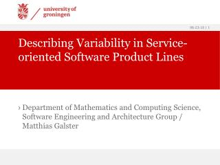 Describing Variability in Service-oriented Software Product Lines