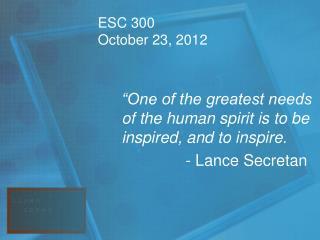 ESC 300  October 23, 2012